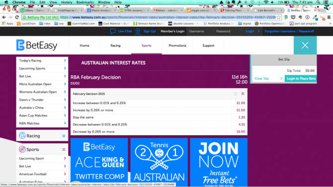 Interest Rate arbitrage betting